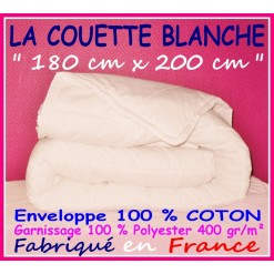 LA COUETTE 180 x 200 Enveloppe 100 % COTON 400 gr/m² BLANCHE