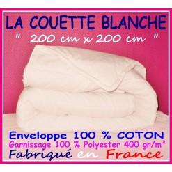 LA COUETTE 200 x 200 Enveloppe 100 % COTON 400 gr/m² BLANCHE