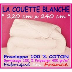 LA COUETTE 220 x 240 Enveloppe 100 % COTON 400 gr/m² BLANCHE