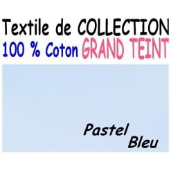 DRAP HOUSSE LONGUEUR  220 cm GRAND TEINT 100 % COTON  / 11 DIMENSIONS au choix / PASTEL BLEU