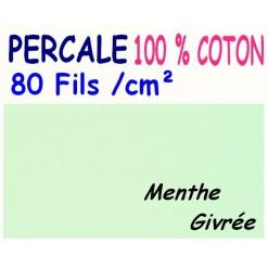 DRAP HOUSSE LONGUEUR  220 cm PERCALE 80 fils/cm² / 11 DIMENSIONS au choix / MENTHE Givrée