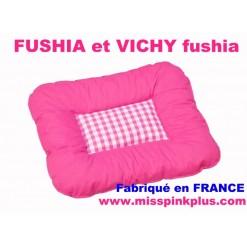 TAPIS COUSSIN COUCHAGE LIT pour CHIEN et CHAT 37 x 47 / FUSHIA et VICHY