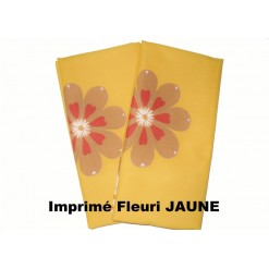 TAIE OREILLER 50x50 / FLEURI JAUNE