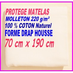 PROTEGE MATELAS  70 x 190 MOLLETON 100 % COTON NATUREL