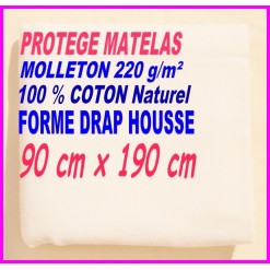 PROTEGE MATELAS  90 x 190 MOLLETON 100 % COTON NATUREL