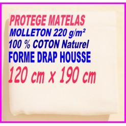 PROTEGE MATELAS  120 x 190 MOLLETON 100 % COTON NATUREL