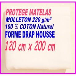 PROTEGE MATELAS  120 x 200 MOLLETON 100 % COTON NATUREL