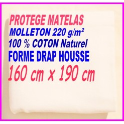 PROTEGE MATELAS  160 x 190 MOLLETON 100 % COTON NATUREL