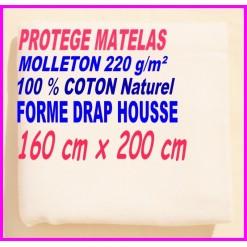 PROTEGE MATELAS  160 x 200 MOLLETON 100 % COTON NATUREL