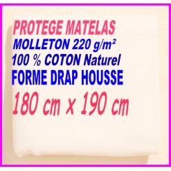 PROTEGE MATELAS  180 x 190 MOLLETON 100 % COTON NATUREL