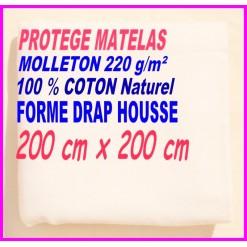 PROTEGE MATELAS  200 x 200 MOLLETON 100 % COTON NATUREL
