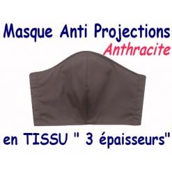 MASQUE de PROTECTION ANTI PROJECTIONS en Tissu 3 épaisseurs / 100 % COTON Grand Teint/ ANTHRACITE