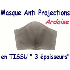 MASQUE de PROTECTION ANTI PROJECTIONS en Tissu 3 épaisseurs / 100 % COTON Grand Teint/ Gris ARDOISE