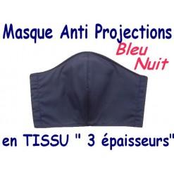 MASQUE de PROTECTION ANTI PROJECTIONS en Tissu 3 épaisseurs / 100 % COTON PERCALE / BLEU NUIT