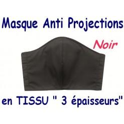 MASQUE de PROTECTION ANTI PROJECTIONS en Tissu 3 épaisseurs / 100 % COTON Grand Teint/ NOIR