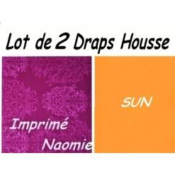 TOP PROMO / LOT 2 DRAP HOUSSE 160x190  / 2DHNAOMIESUN