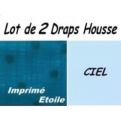 LOT 2 DRAP HOUSSE bébé 50x90 pour BERCEAU / EtoileCiel