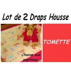 LOT 2 DRAP HOUSSE bébé 50x90 pour BERCEAU /Chasse papillon/Tomette