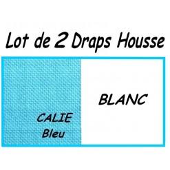 LOT 2 DRAP HOUSSE bébé 50x90 pour BERCEAU / CALIE Bleu/BLANC