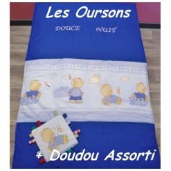 COUVERTURE Matelassée bébé + DOUDOU Assorti / LES OURSONS