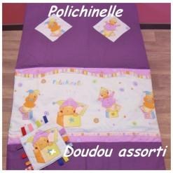 COUVERTURE Matelassée bébé + DOUDOU Assorti / POLICHINELLE