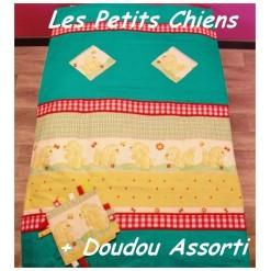 COUVERTURE Matelassée bébé + DOUDOU Assorti / PETITS CHIENS