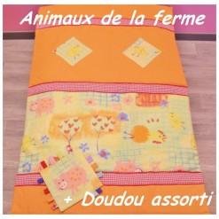 COUVERTURE Matelassée bébé + DOUDOU Assorti / ANIMAUX DE LA FERME