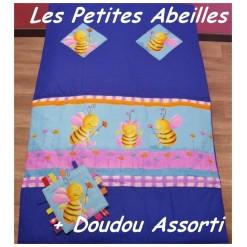 COUVERTURE Matelassée bébé + DOUDOU Assorti / PETITES ABEILLES