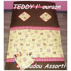COUVERTURE Matelassée bébé + DOUDOU Assorti / TEDDY l'ourson