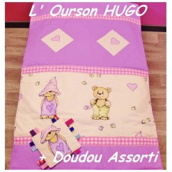 COUVERTURE Matelassée bébé + DOUDOU Assorti / HUGO