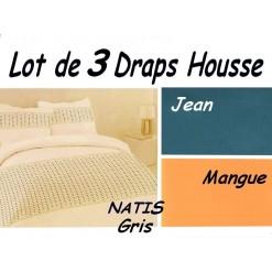 TOP PROMO / LOT 3 DRAP HOUSSE bébé 80x160 / 3DHNATISgris