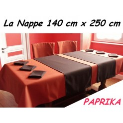 NAPPE RECTANGULAIRE 140 x 250 cm / TISSU INFROISSABLE / PAPRIKA