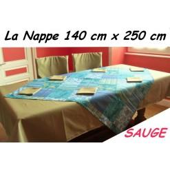 NAPPE RECTANGULAIRE 140 x 250 cm / TISSU AMEUBLEMENT / SAUGE