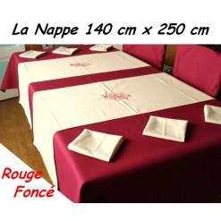 NAPPE RECTANGULAIRE 140 x 250 cm / TISSU AMEUBLEMENT / ROUGE Foncé