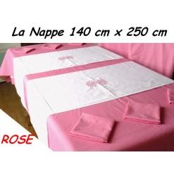 NAPPE RECTANGULAIRE 140 x 250 cm / TISSU AMEUBLEMENT / ROSE