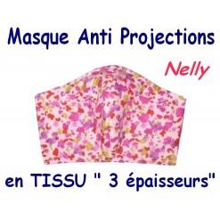 MASQUE de PROTECTION ANTI PROJECTIONS en Tissu 3 épaisseurs / 100 % COTON / Imprimé NELLY
