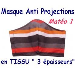 MASQUE de PROTECTION ANTI PROJECTIONS en Tissu 3 épaisseurs / 100 % COTON / Imprimé MATEO