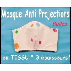 MASQUE de PROTECTION ANTI PROJECTIONS en Tissu 3 épaisseurs / 100 % COTON / Imprimé BULLES