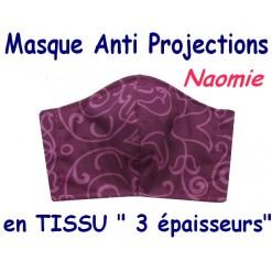 MASQUE de PROTECTION ANTI PROJECTIONS en Tissu 3 épaisseurs / 100 % COTON / Imprimé NAOMIE