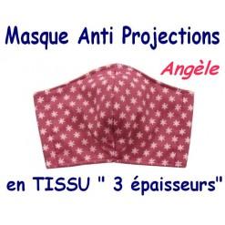 MASQUE de PROTECTION ANTI PROJECTIONS en Tissu 3 épaisseurs / 100 % COTON / Imprimé ANGELE