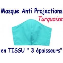 MASQUE de PROTECTION ANTI PROJECTIONS en Tissu 3 épaisseurs / 100 % COTON Grand Teint/ TURQUOISE CT