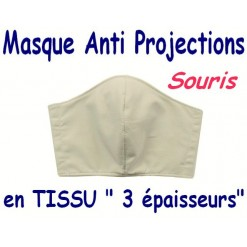 MASQUE de PROTECTION ANTI PROJECTIONS en Tissu 3 épaisseurs / 100 % COTON Grand Teint/ SOURIS