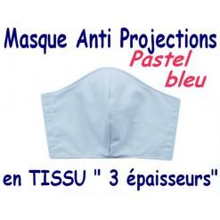 MASQUE de PROTECTION ANTI PROJECTIONS en Tissu 3 épaisseurs / 100 % COTON Grand Teint/ Pastel Bleu