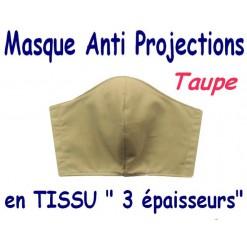 MASQUE de PROTECTION ANTI PROJECTIONS en Tissu 3 épaisseurs / 100 % COTON PERCALE / TAUPE