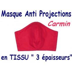 MASQUE de PROTECTION ANTI PROJECTIONS en Tissu 3 épaisseurs / 100 % COTON Grand Teint/ CARMIN