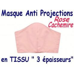 MASQUE de PROTECTION ANTI PROJECTIONS en Tissu 3 épaisseurs / 100 % COTON Grand Teint/ Rose Cachemire