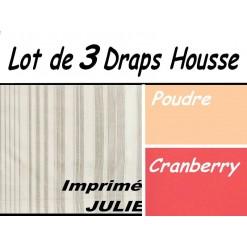 TOP PROMO / LOT 3 DRAP HOUSSE 70x190  / 3DHJULIE