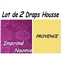 TOP PROMO / LOT 2 DRAP HOUSSE 120x200  / 2DHNAOMIE