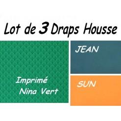TOP PROMO / LOT 3 DRAP HOUSSE bébé 80x160 / 3DHNINA