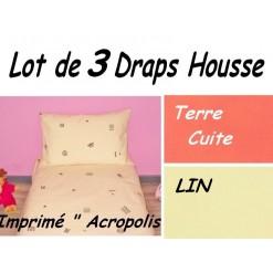 TOP PROMO / LOT 3 DRAP HOUSSE 80x180 / 3DHACROPOLIS2